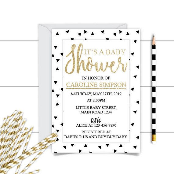 Printable Neutral Gold Black Baby Shower InvitationGold Black