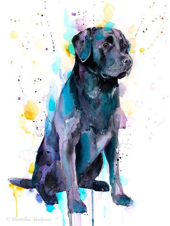 Peinture A Laquarelle Labrador Noire Imprime Par Slaveika Etsy