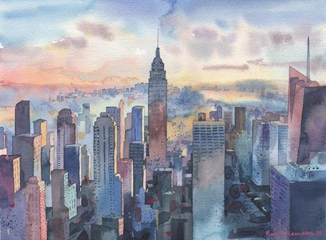 Emma Reznikova's New York skyline in watercolour