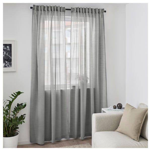 Hilja Curtains 1 Pair Gray 57x98 Ikea Living Room Blinds