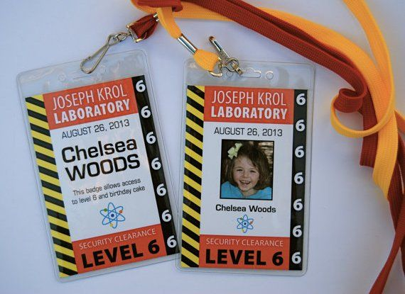 mad science party ideas and supplies Scientist Badge PRINTED with badge cover and lanyards