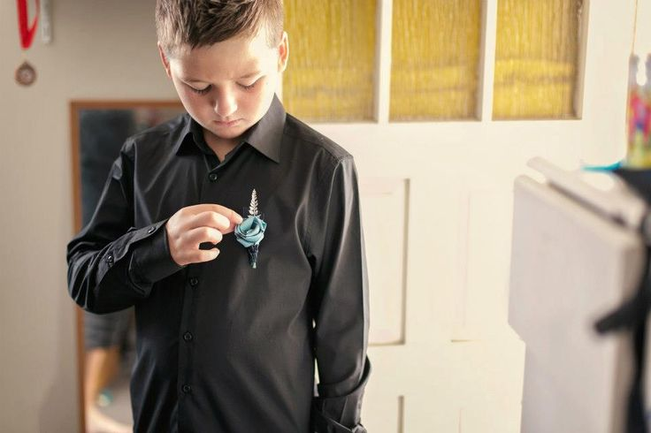 Pageboy buttonhole. A smaller sized buttonhole made to suit the child's age.  www.flaxation.co.nz