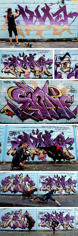 Fresque graffiti réalisée à Ramonville par Wuna Swip et Stoner, dédicace à tous les b-boys et b-girls et au Freeztyle Impakt Crew, www.swiponer.com