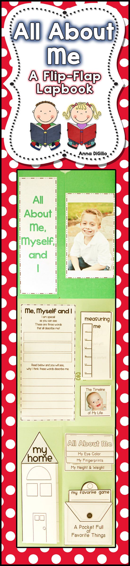 This All About Me Flip-Flap Lapbook is a great BACK TO SCHOOL Activity that the parents will LOVE and will be a wonderful keepsake! This unit incorporates writing and math skills!! $