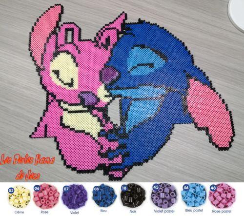 Stitch and Angel hama perler beads by Jessica Bartelet - Les perles Hama de Jess