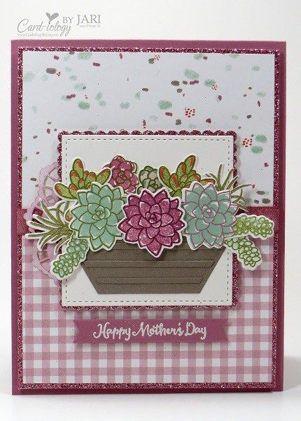 Stampin' Up! Oh So Succulent Basket Cardiology by Jari