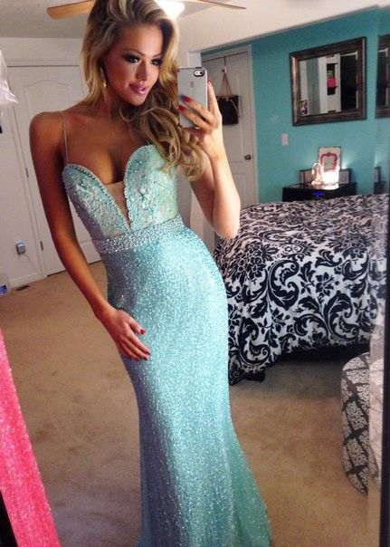 Prom dress aqua with lace and straps