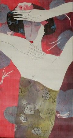 Artist - Bui Tien Tuan Title - Dance 2  Medium - Pen and Ink, Watercolor on Silk Dimensions - 47cm x 90cm Status - Private Collection Tokyo