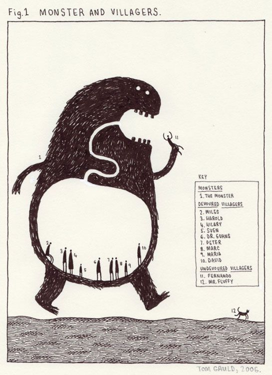 'Monster and Villagers' (2006) by London-based artist and illustrator Tom Gauld. via Iain Claridge