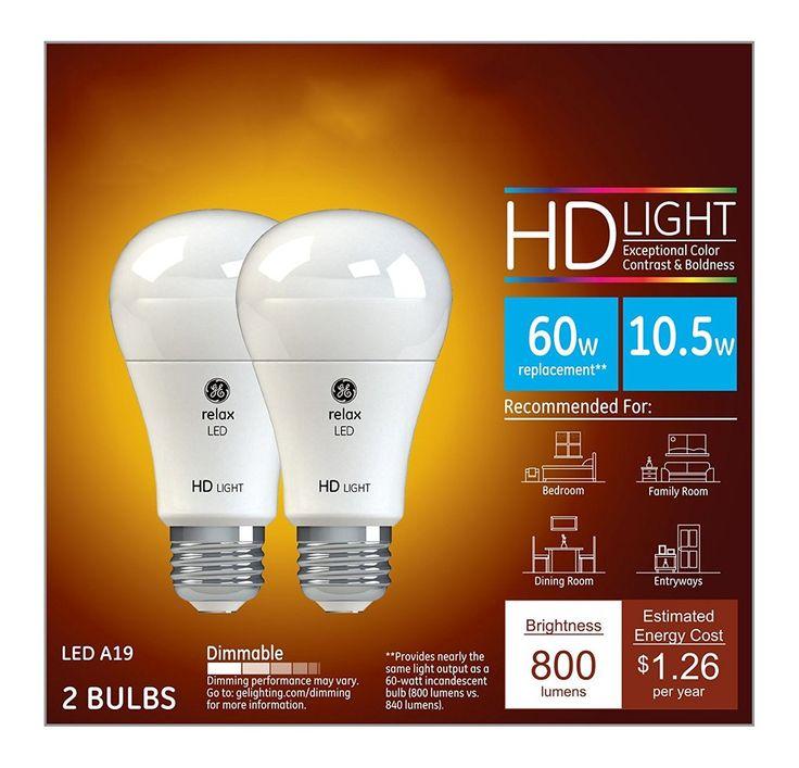 GE LED 10.5-Watt (60 Watt Replacement) Dimmable Light Bulb - 800-Lumen A19 Medium Base, Soft White, 2700K  High Definition 2-Pack }