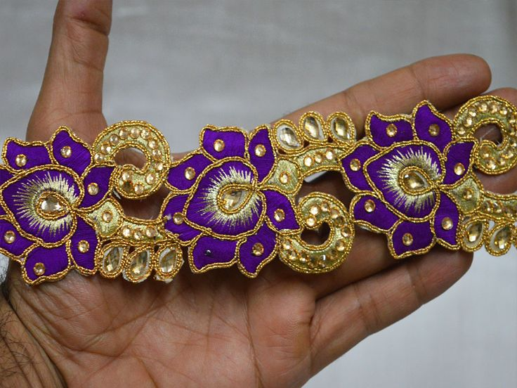 Purple Saree Border Gold Kundan Lace Glass Bead Embellishment    You can purchase from below link or What's App no. is +91-9999684477. We also take wholesale inquiries.