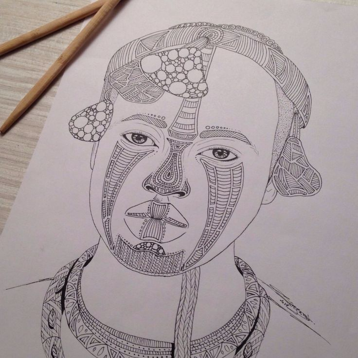 My drawing, Tribal 014, portrait of a man. You like my picture ?