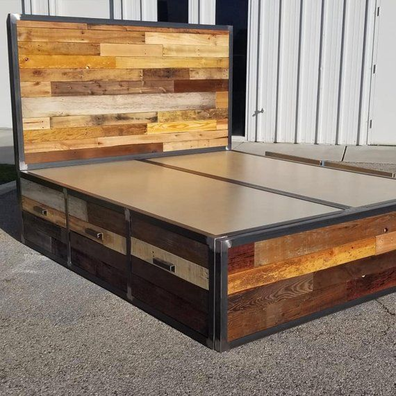 Industrial Reclaimed Wood Platform Storage Bed Industrial Style