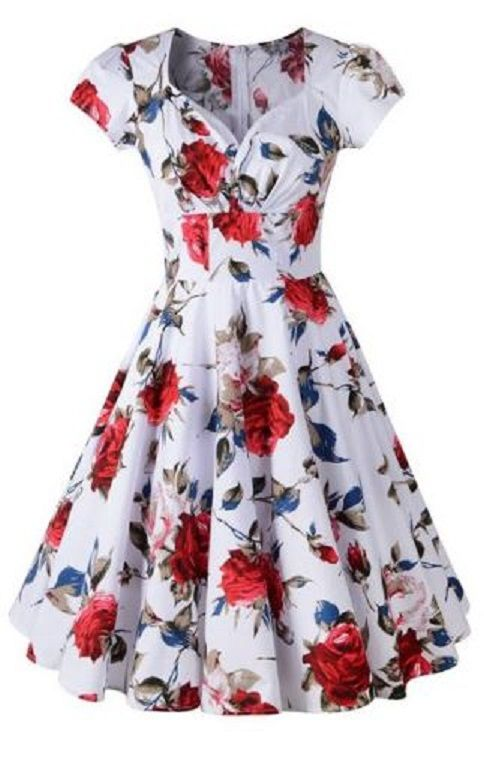 Retro Style Sweetheart Neck Short Sleeve Women's Pin Up Dress #Retro #Style #Vintage #Floral #Print #Sweetheart #Dress