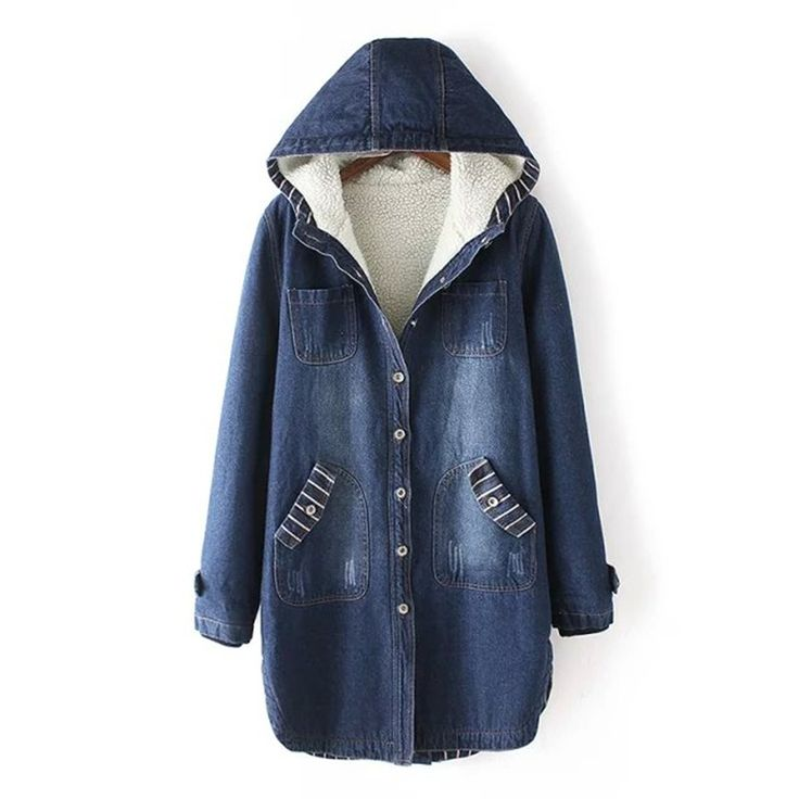 OLGITUM Hoodise Ms. warm Winter Casual denim Windbreaker jacket long 2017 new ladies fashion Denim jacket Female models thick #Affiliate