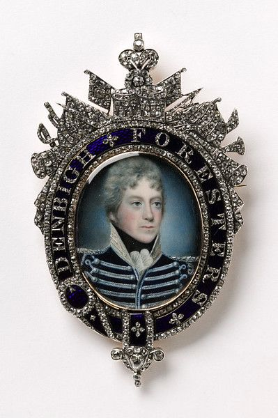 Miniature Portrait Of Augustus Touissaint Mounted In Ivory, Enamel, Watercolor, Gold, Copper And Diamond Frame   c.1800