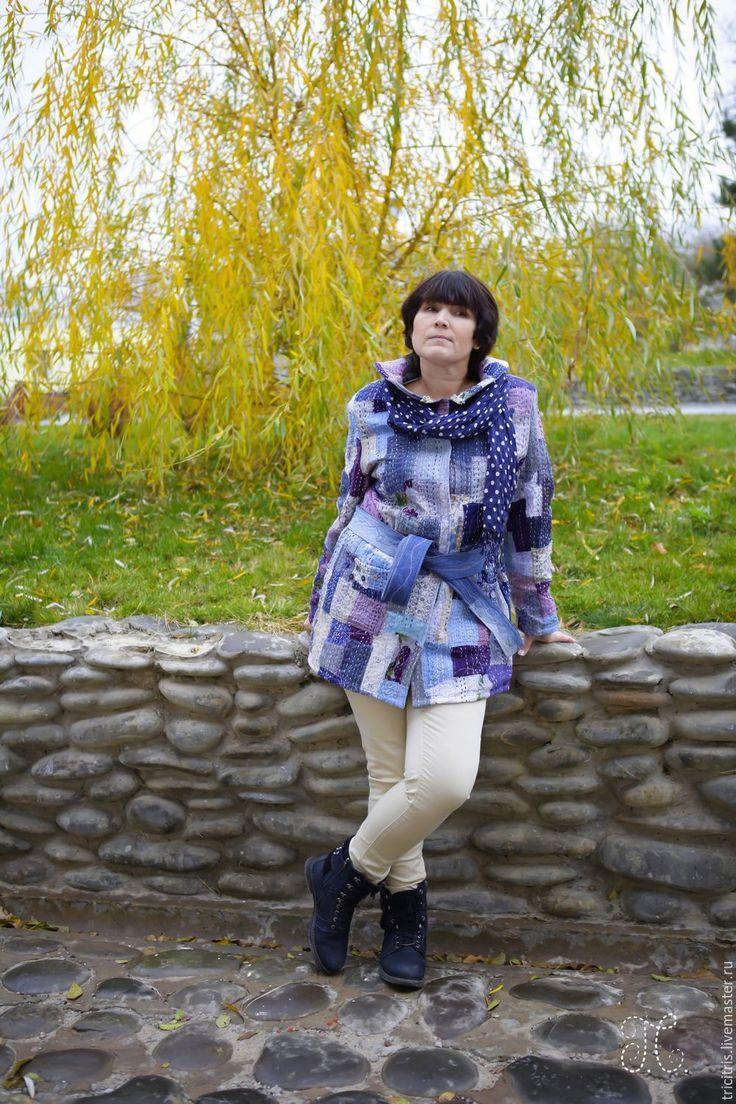 Купить Пиджак для Марины. - голубой, абстрактный, стиль боро, богемный стиль, для неординарных особ