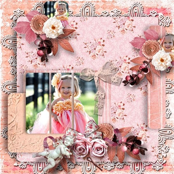 Kit Roses for an angel by Ilonka  Template 7 by Pat'scrap