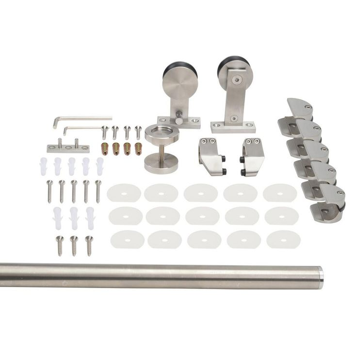CALHOME Top Mount 79 in. Stainless Steel Barn Style Sliding Door Track and Hardware Set