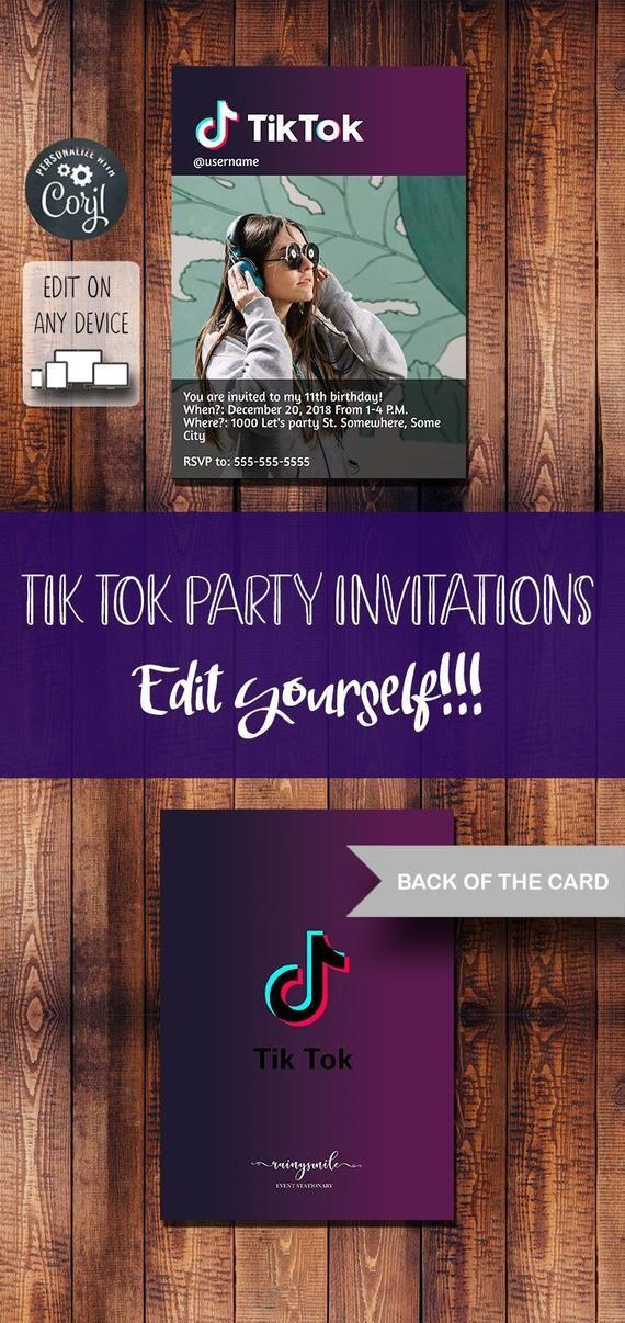 Tik Tok Printable Invitation Musically Invites Digital File By Rainysmile Tarjetas Invitacion Cumpleanos Invitaciones De Cumpleanos Tarjetas De Invitacion