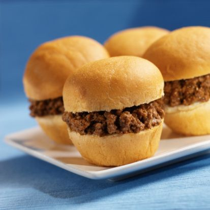 sloppy joes   1 large onion, diced 1 lb. extra lean ground beef (90% lean) 1-1/2 cups ketchup 1/4 cup yellow mustard 1 tsp. brown sugar 1 tsp. Worcestershire sauce 1/4 tsp. pepper sandwich-size potato rolls