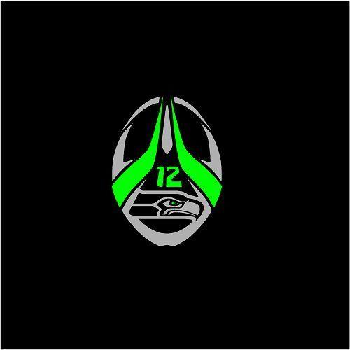 "Seattle Seahawks Vinyl Decal Tribal Football Logo Lime Green & Silver 8"" V3 #SeattleSeahawks"