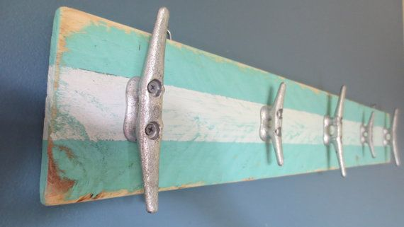 Recycled Boat Cleat Towel Rack Key Rack Blues Upcycled Nautical Seashore Decor Ocean Decor Turquoise and White Beach Decor