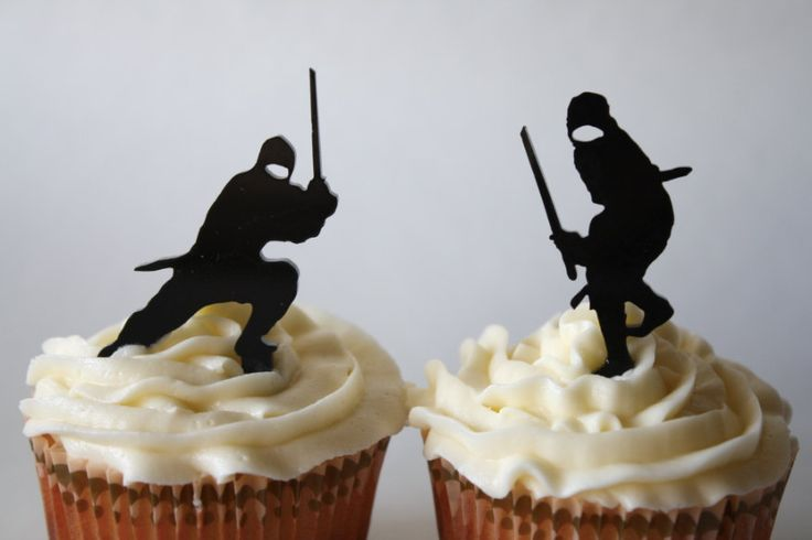 12 Ninja Cupcake Toppers Acrylic by ThroughThickandThin on Etsy, $12.00