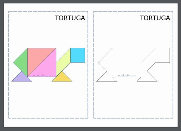 Tangram de tortuga, contorno y solución.
