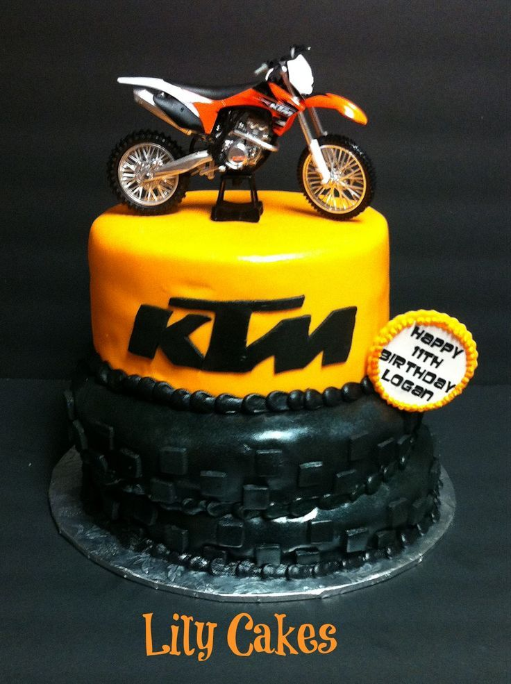 motocross birthday | KTM dirt bike birthday cake. Would be better if it were Kawasaki, but I'll take it!