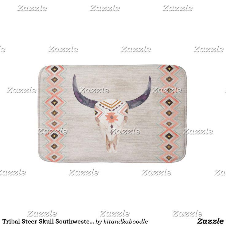 Tribal Steer Skull Southwestern Bathroom Mat