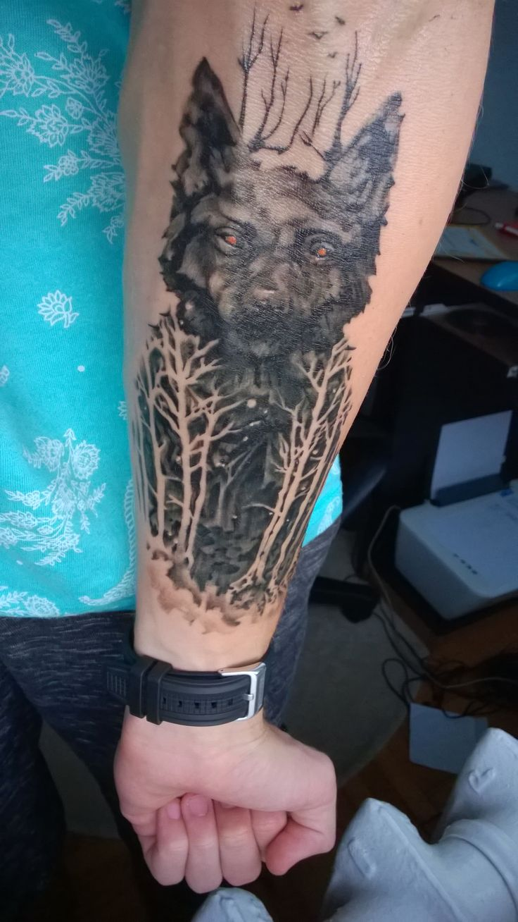 Forearm wolf and forrest tattoo - by Teodorescu Daniel