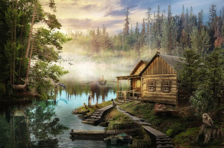 Cabin by the River puzzle in Puzzle of the Day jigsaw puzzles on TheJigsawPuzzles.com. Play full screen, enjoy Puzzle of the Day and thousands more.