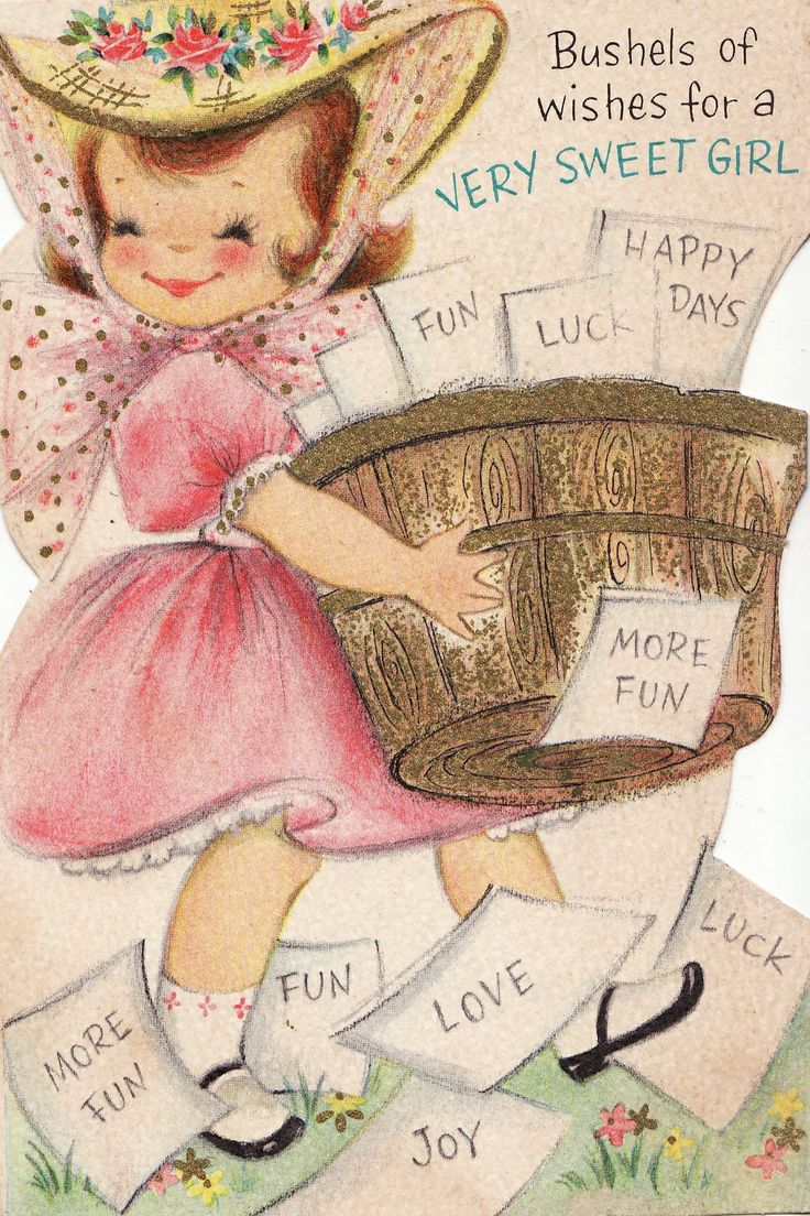 40 best vintage greeting cards images on pinterest vintage cards vintage hallmark bushels of wishes for a very sweet girl greetings card kristyandbryce Image collections