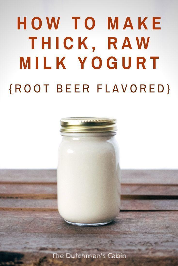 How To Make Thick Yogurt At Home How To Make Thick Raw Milk Yogurt Root Beer Flavored The Dutchman S Cabin Recipe Raw Milk Yogurt Root Beer Recipe Homemade Yogurt Recipes