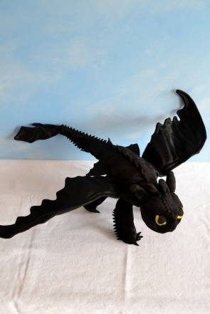 A beautiful sewed plush animal version of Toothless.
