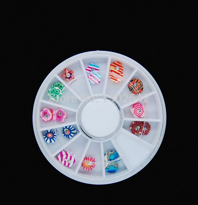 W18  24Pcs/Set Mix Styles Fimo 3D Polymer Clay Tiny Slices Wheel Packing Fashion Nail Art Diy Nail Decoration