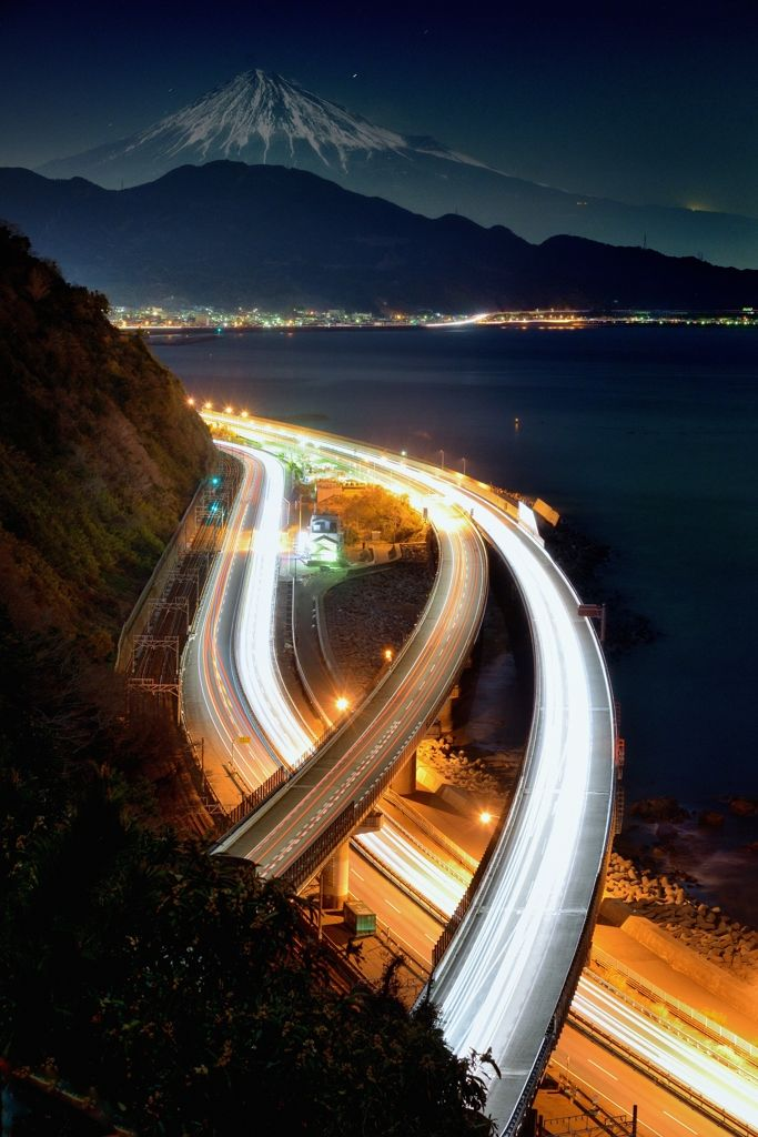 Mt.Fuji with highway at night