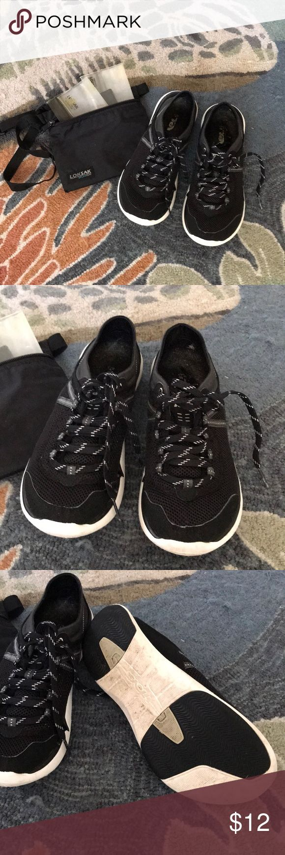Teva Water Shoes with pouch Teva Water Shoes with pouch and waterproof protection. Shoes have been gently worn. Good for many more miles of kicking through the water! Teva Shoes Athletic Shoes
