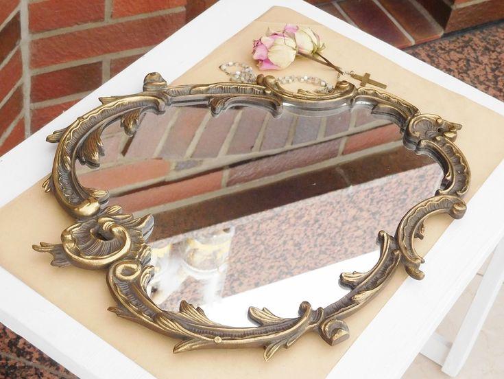 Vintage Spiegel Alter Messing Spiegel Metall Spiegel