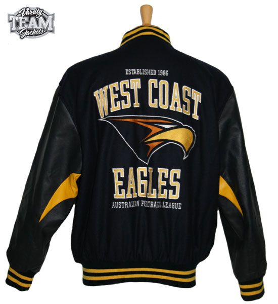 West Coast Eagles AFL wool body and leather sleeves embroidered varsity jacket back by Team Varsity Jackets. www.facebook.com/TeamVarsityJackets  www.teamvarsityjackets.com.au