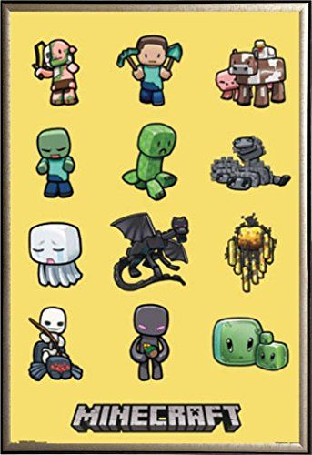 Framed Minecraft - Gaming 22x34 Poster in Gold Finish Wood Frame (Characters - Creeper & Friends) @ niftywarehouse.com