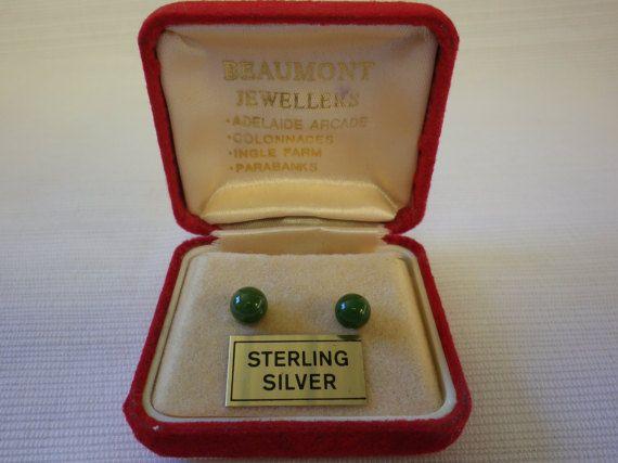 Vintage Jade Sterling Silver Stud Earrings by EternalElementsEtsy
