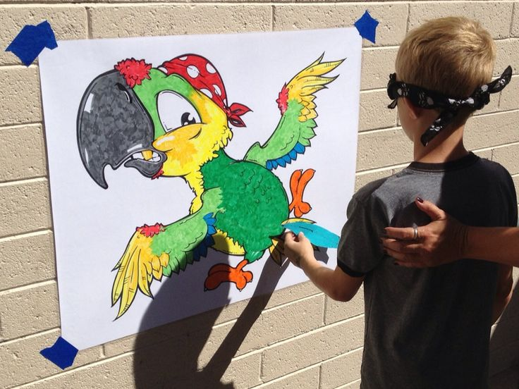 Pin the feather on the parrot.