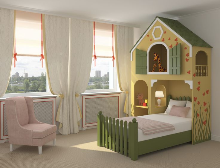 Furniture, Adorable Ideas Of Cute Children Bedroom Furniture For Inspiring Your Kids Room Trendy Design Of Children Boy Bedroom Furniture Ideas Feature With Dark Green And Beige Painting Plywood House Bed Loft Also Alluring White Fabric Curtain Window Glass Treatment