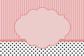 Rayas Rosa y Lunares Negros: tarjetas, invitaciones y marcos de foto para imprimir gratis