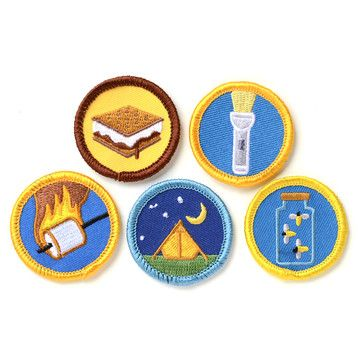 Fab.com | Kids Camping Set - retro embroidered merit badges-- I would take this idea and make 'badges' out of cardstock instead---- a great way to document our summer fun activities!