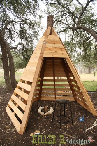cedar play teepee step11 diy tree. Black Bedroom Furniture Sets. Home Design Ideas