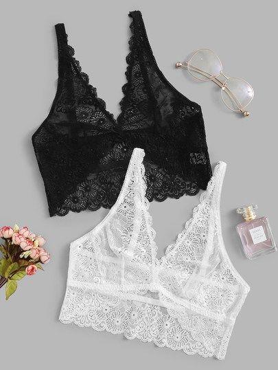 473f7ba2b0f Scalloped Trim Floral Lace Bralette Set 2pack | So Sexy LINGERIE ...