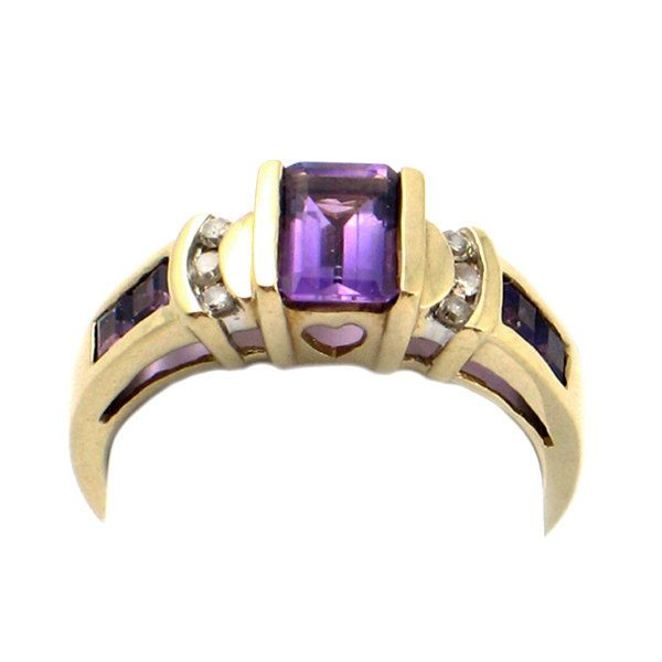 Amethyst & Diamond Ring in 10K Gold • 10K Gold Ring with Channel Set Amethysts, Heart Cut-Out and Diamond Accents • Size 7.25 by EncoreJewelryandGems on Etsy